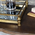 Large Antique Gold Mirrored Cocktail Tray