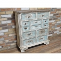 Large Antique White/Blue Rustic 9 Drawer Chest of Drawers