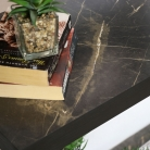 Large Black Marble Effect Console Table