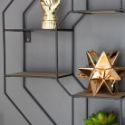 Large Black Wood & Metal Wall Shelf