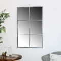 Large Brushed Silver Metal Window Style Wall Mirror 70cm x 110cm