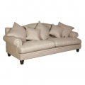 Large Cream Linen 3 Seater Sofa with Cushions