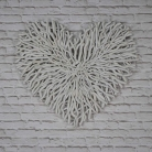 Large Cream Twig Heart Wall Art