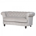 Large Cream Velvet 2 Seater Button Back Sofa