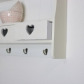 Large Cream Wall Shelf with Heart Drawer Storage