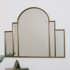 Large Gold Art Deco Arch Fan Mirror 80cm x 65cm