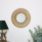Large Gold Feathered Wall Mirror 50cm x 50cm