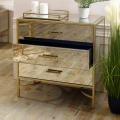 Large Gold Mirrored Chest of Drawers  - Cleopatra Range