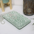 Large Green & White Ceramic Floral Dish