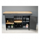 Large Industrial Metal & Wood Bar Cabinet