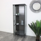 Large Industrial Reeded Glass Cabinet