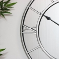 Large Mirrored Skeleton Style Wall Clock with Roman Numerals