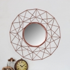 Large Round Copper Metal Wire Wall Mirror 63cm x 63cm