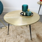 Large Round Gold & Black Side Table