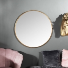 Large Round Gold Framed Wall Mirror 80cm x 80cm