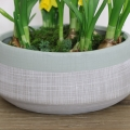 Large Round Grey & Green Planter Pot