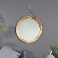 Large Round Rustic Wooden Wall Mirror