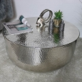 Large Round Silver Metal Coffee Table