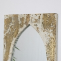 Large Rustic Mirrored Cream Wooden Candle Sconce