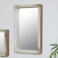Large Rustic Rectangle Mirrored Wall Shelf