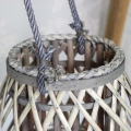 Large Rustic Wicker Candle Lantern