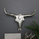 Large Silver Metal Wall Mounted Buffalo Skull
