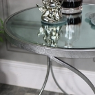 Large Silver Mirrored Side Table