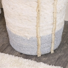 Large Tall White & Grey Seagrass Basket
