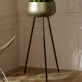Large Vintage Gold Metal Plant Pot on Stand
