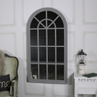 Large Vintage Grey Arched Window Mirror 69cm x 130cm