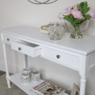Large White 3 Drawer Console Table
