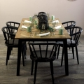 Large Wooden Nordic Dining Table & 6 Black Dining Chairs