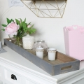 Long Rustic Grey Wooden Tray