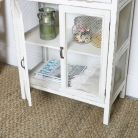Mesh Fronted Rustic White Cabinet