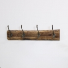 Metal Coat Hooks with Wooden Base