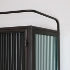 Metal Reeded Glass Wall Cabinet