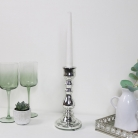 Metallic Silver Candle Holder