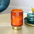 Orange & Gold Glass Orchid Candle