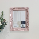 Ornate Rose Gold Pink Wall Mirror with Bevelled Glass