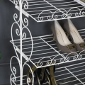 Vintage White Metal Shoe Rack Storage Shelves