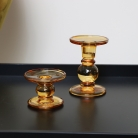 Pair of Amber Glass Candle Holders