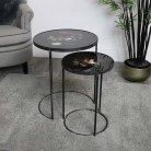 Pair of Black Floral Side Tables