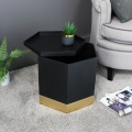 Pair of Black & Gold Hexagon Storage Tables
