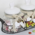 Pair of Clear Glass Jars in Wire Basket