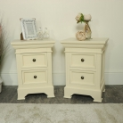 Pair of Cream 2 Drawer Bedside Chests - Daventry Cream Range