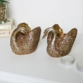 Pair of Gold Swan Candle Holders