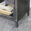 Pair of Industrial Rustic Mesh Fronted Bedside Cabinets
