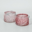 Pair of Pink Glass Jar Tealight Candle Holders