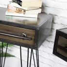 Pair of Retro Industrial Metal Bedside Tables