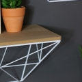 Pair of Retro White Wire Wall Mounted Shelves